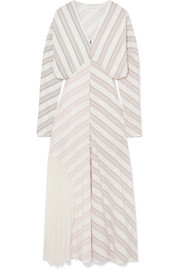 Paneled striped silk and chiffon dress