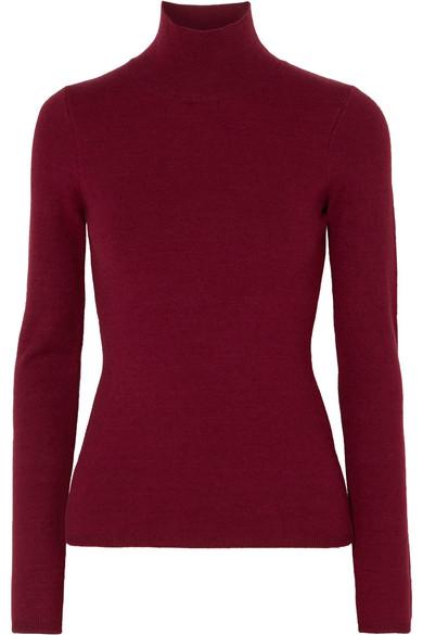 Victoria Beckham - Knitted Turtleneck Sweater - Burgundy