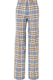 Victoria Beckham Checked wool and mohair-blend wide-leg pants