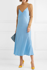 Satin-crepe midi dress