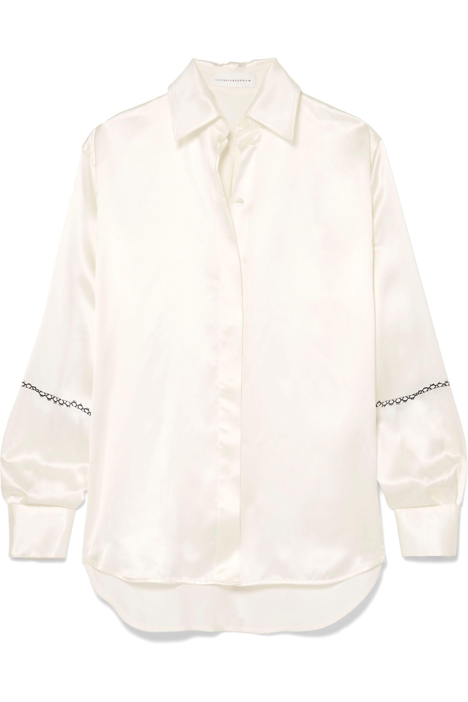 Victoria Beckham Printed silk-satin shirt