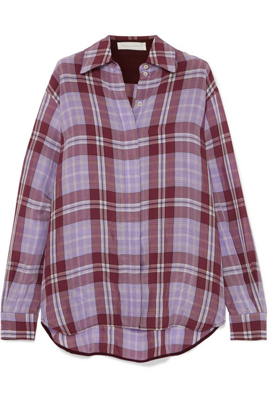 Victoria Beckham - Oversized Checked Crinkled-taffeta Shirt - Lilac