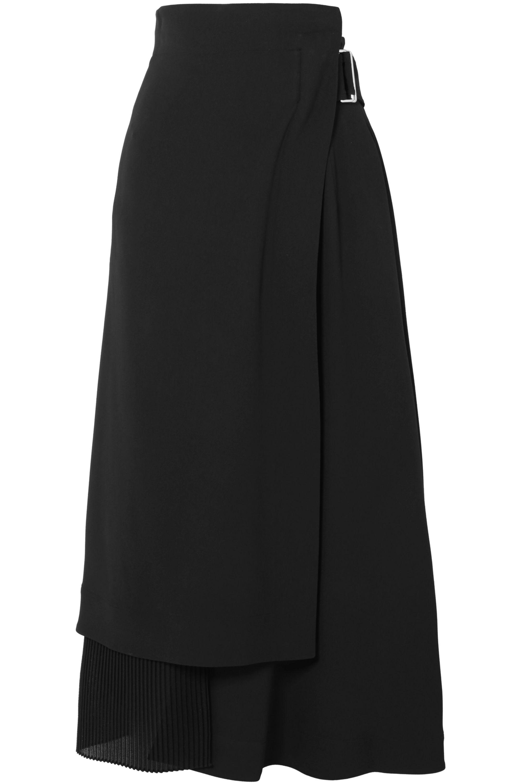 Victoria Beckham Jupe portefeuille plissée en crêpe et cady