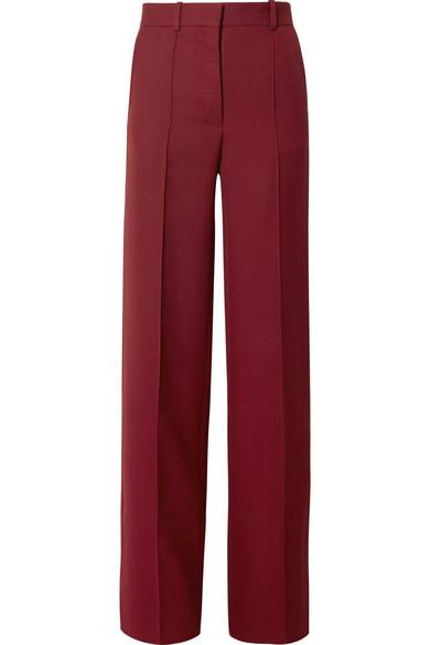 Victoria Beckham - Grain De Poudre Wool Wide-leg Pants - Burgundy