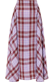 Victoria Beckham Pleated checked crinkled-taffeta skirt