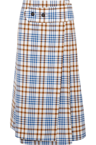 VICTORIA BECKHAM CHECKED WOOL AND MOHAIR-BLEND MIDI SKIRT