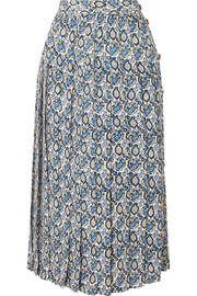 Victoria Beckham Pleated printed silk-crepon midi skirt