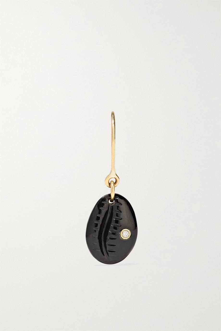 Pascale Monvoisin Cauri N°2 9-karat rose gold, onyx and diamond earring