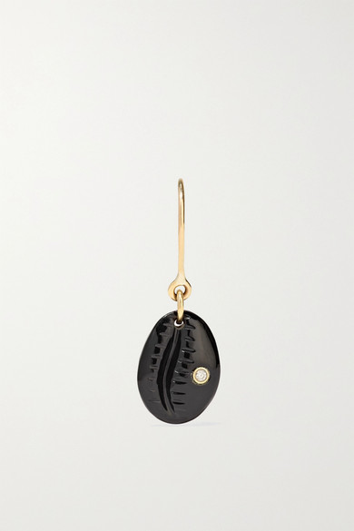 PASCALE MONVOISIN CAURI N°2 9-KARAT ROSE GOLD, ONYX AND DIAMOND EARRING