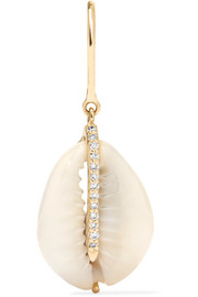 Pascale Monvoisin Cauri 9-karat gold, diamond and porcelain earring
