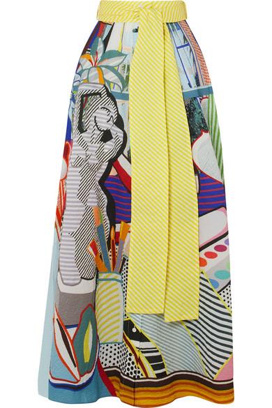 3873190829 Mary Katrantzou | Camilla belted printed seersucker maxi skirt |  NET-A-PORTER.COM