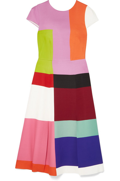 Mary Katrantzou - Osmond Color-block Satin Midi Dress - Pink