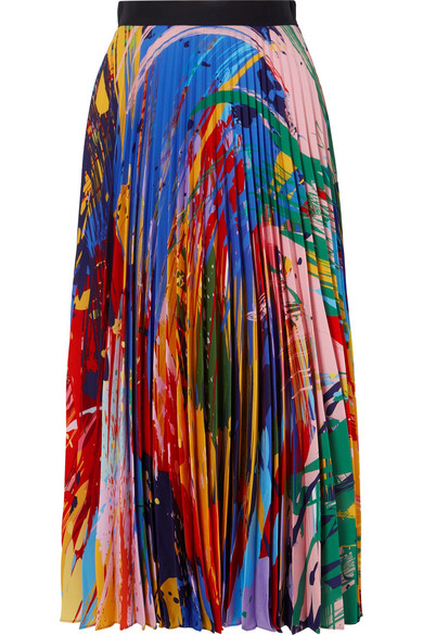 Mary Katrantzou - Printed Plissé-chiffon Midi Skirt - Red