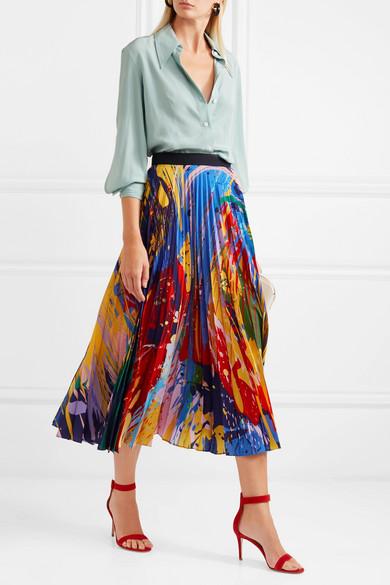 06c18ea120 Mary Katrantzou | Printed plissé-chiffon midi skirt | NET-A-PORTER.COM