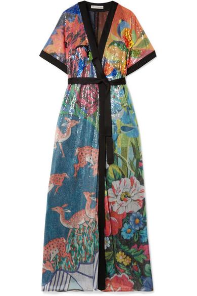 Mary Katrantzou - Natalia Satin-trimmed Sequined Tulle Wrap Maxi Dress - Blue