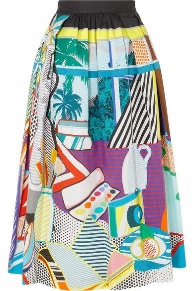 MARY KATRANTZOU Bowles Pop Art-Print Stretch-Cotton Midi Skirt in Multi