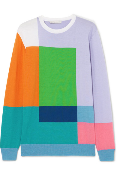 Hartigan Color Block Wool Sweater by Mary Katrantzou