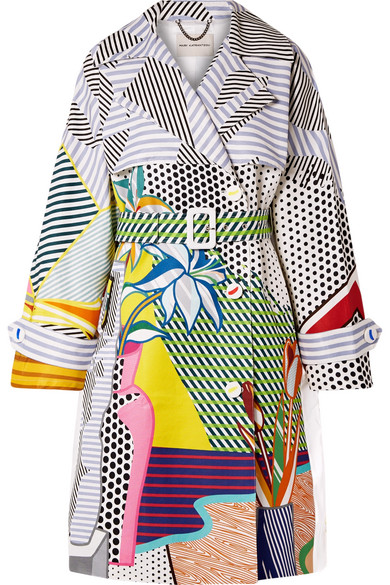 MARY KATRANTZOU Printed Cotton-Blend Gabardine Trench Coat in Gray