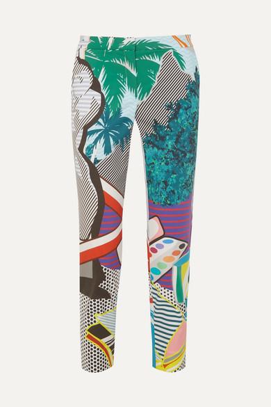 Mary Katrantzou - Amra Cropped Printed Cotton-blend Poplin Slim-leg Pants - Gray