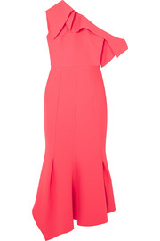 Juniper one-shoulder paneled stretch-crepe midi dress