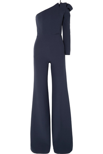 Ardenia One Shoulder Stretch Crepe Jumpsuit by Safiyaa