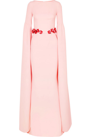 SAFIYAA Octavia Belted Stretch-Crepe Gown in Pastel Pink