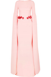 Safiyaa Octavia belted stretch-crepe gown