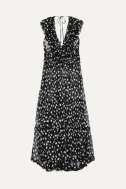 Lee Mathews Mansfield ruffled polka-dot crinkled silk-georgette maxi dress
