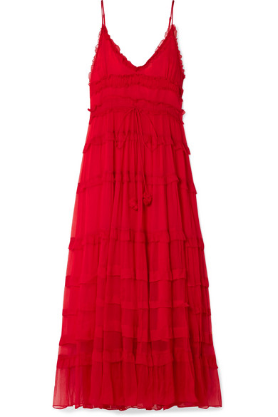 LEE MATHEWS ELIZA TIERED SILK-CREPON MAXI DRESS