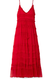 Eliza tiered silk-crepon maxi dress