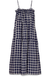 Lee Mathews Nellie checked cotton maxi dress