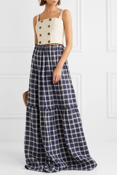 d345ee79f6f Lee Mathews. Nellie checked cotton maxi dress.  294. Play
