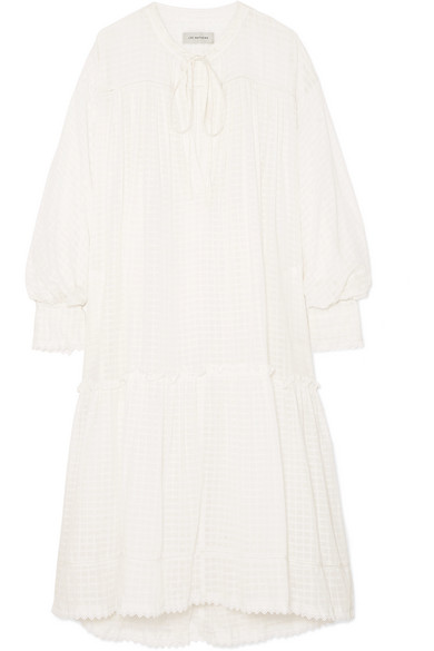 Laura Lace-trimmed Checked Cotton-muslin Dress - Ivory Lee Mathews Sale Shop For Buy Online Cheap Sale Footlocker Pictures 7QLe9Yh4