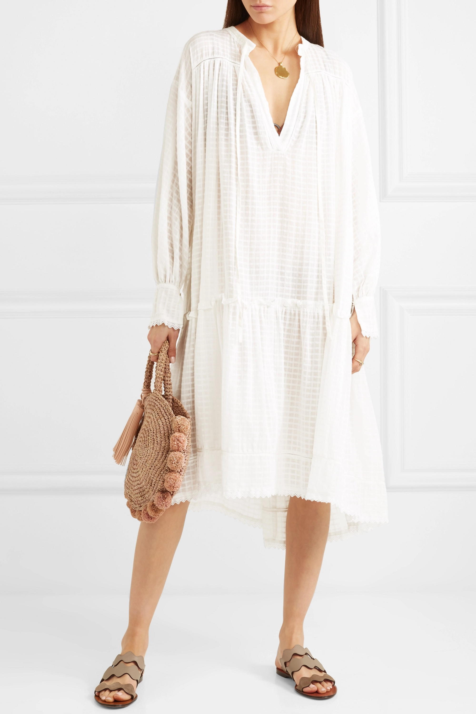 Lee Mathews Laura lace-trimmed checked cotton-muslin dress