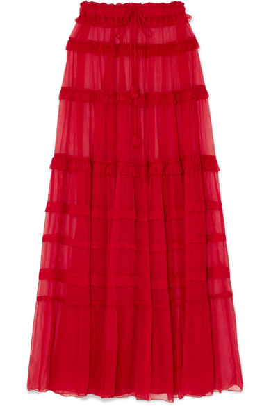 LEE MATHEWS ELIZA TIERED SILK-CREPON MAXI SKIRT