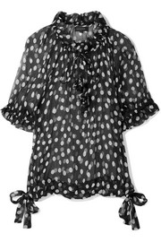 Mansfield ruffled polka-dot crinkled silk-georgette blouse