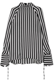 Lee Mathews Nicolas striped silk-satin blouse