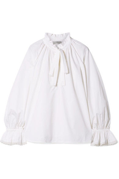 LEE MATHEWS MILLER PUSSY-BOW RUFFLED COTTON-POPLIN TOP