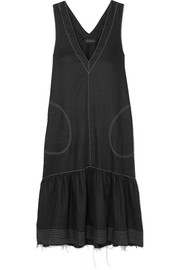 Lee Mathews Carrie frayed linen midi dress