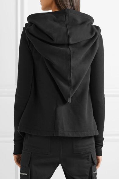 Rick Owens Tops Tie-front asymmetric cotton-jersey hoodie