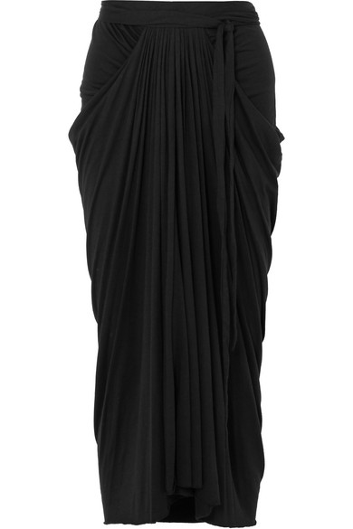 Rick Owens - Draped Stretch-jersey Midi Skirt - Black