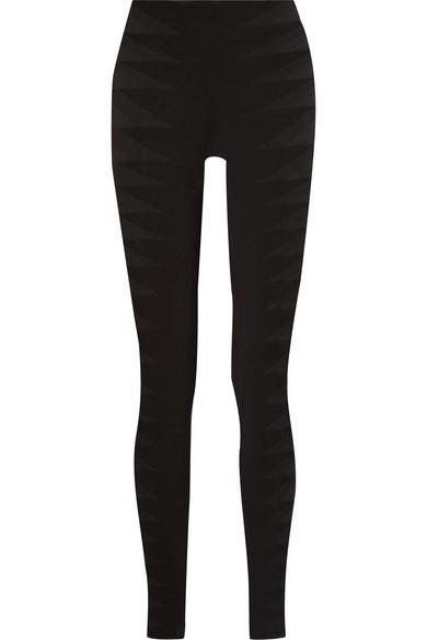 Tulle-Trimmed Stretch-Jersey Leggings, Black