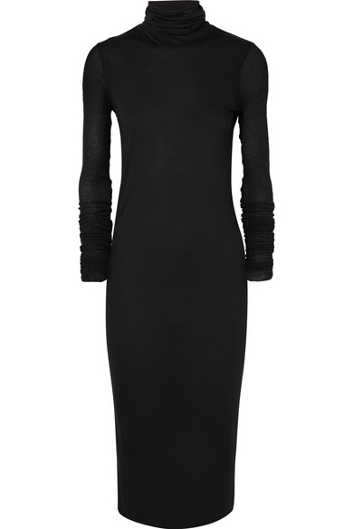 Stretch-Jersey Turtleneck Midi Dress, Black