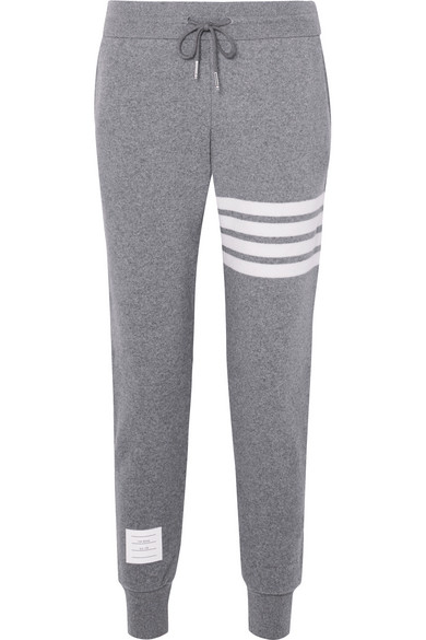Striped Knitted Track Pants, Gray