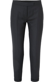 Cropped striped wool-twill straight-leg pants