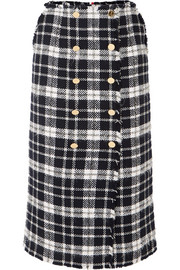 Checked wool-blend tweed midi skirt