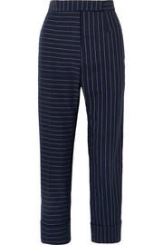 Pinstriped cotton slim-leg pants