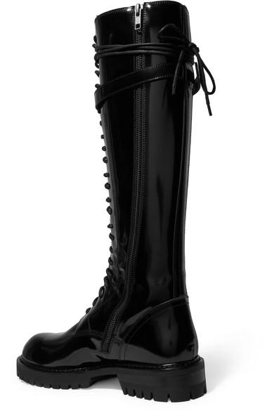 Ann aus Demeulemeester | Kniehohe Stiefel aus Ann Glanzleder mit Schnürung c12216