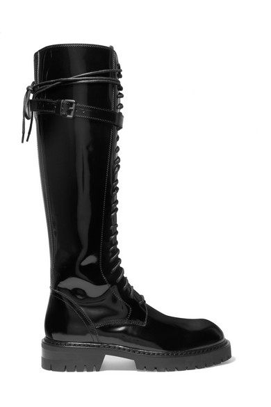 Lace-up Glossed-leather Knee Boots - Black Ann Demeulemeester Reliable Online For Sale Free Shipping jiE4mHj