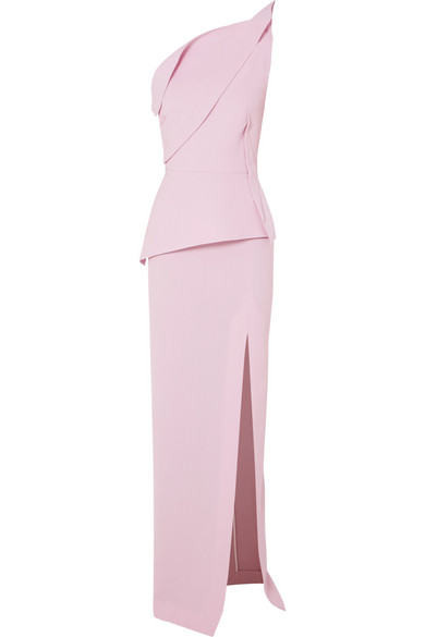 Roland Mouret - Acosta One-shoulder Wool-crepe Gown - Pink